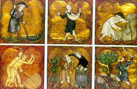 Les travaux agricoles au fil des saisons, gravure du 13ème siècle